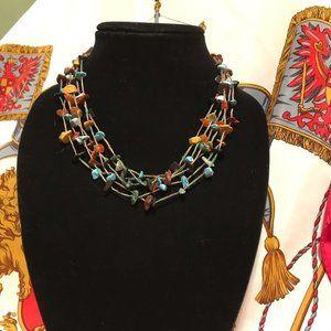 Raw Stone Amber Turquoise Necklace